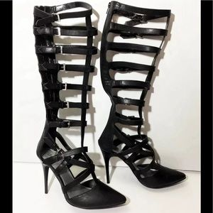 c26b0ba6d4b2f Diba 9 Black Gladiator Stiletto Knee High Boots